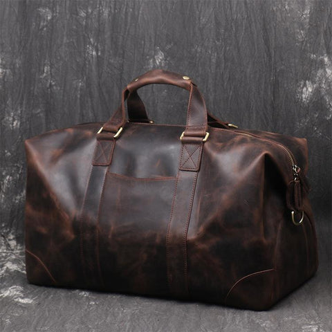 Vintage Large Leather Men's Travel Bag Overnight Bag Weekender Bag For Men