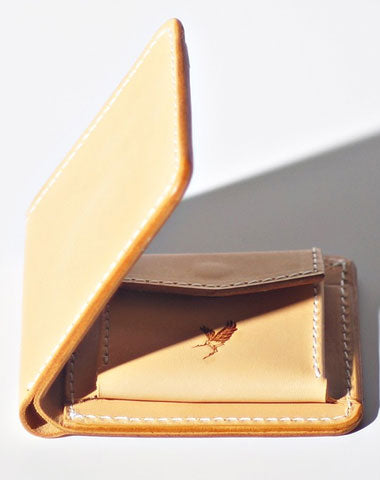 Handmade LEATHER Beige Womens Bifold Small Wallet Cute Leather Small Wallet FOR Women