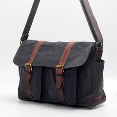Canvas Mens Side Bag 15'' Black Large Courier Bag Postman Bag Messenger Bag for Men