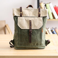 Waxed Canvas Mens Womens 15'' Computer Backpack Green School Backpack Hiking Backpack for Men