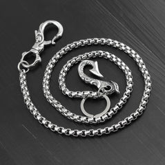 Cool Stainless Steel Dragon Skull Hook Wallet Chain Silver Pants Chain Biker Chain For Men
