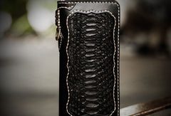 Handmade leather raw python skin biker wallet long wallet black leather chain wallet for men