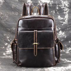 Oil Waxed Leather Mens 13inch Laptop Backpack School Backpack Travel Backpack for Men