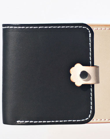 Handmade LEATHER Black Beige Womens Bifold Small Wallets Cute Leather Small Wallet FOR Women