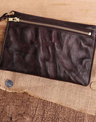 Coffee MENS LEATHER SLIM ZIPPER CLUTCH WRISTLET PURSE BAG CLUTCH BAG FOR MEN