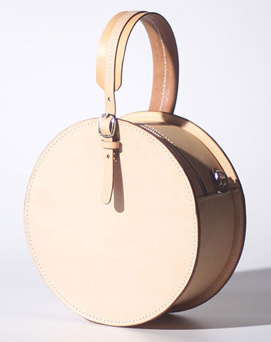 Handmade Womens Beige Leather Circle Handbag Round Purse Crossbody Bag for Women