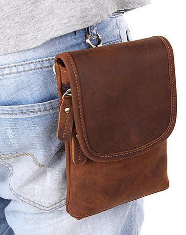 Cool Brown Leather Mens Mini Shoulder Bag Waist Belt Pouch Belt Bags For Men