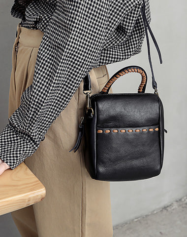 Small Fashion Leather Black Gray Handbag Shoulder Bag Crossbody Purse For Women