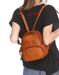 Vintage Leather Brown Womens Backpack Travel Backpack Red School Backpack for Women