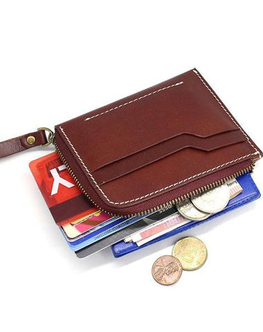 Leather Mens Front Pocket Wallets Small Slim Wallet SHort Card Wallet Change Wallet for Men