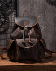 Vintage Mens Leather School Backpacks Satchel Backpack Leather Travel Backpack for Men