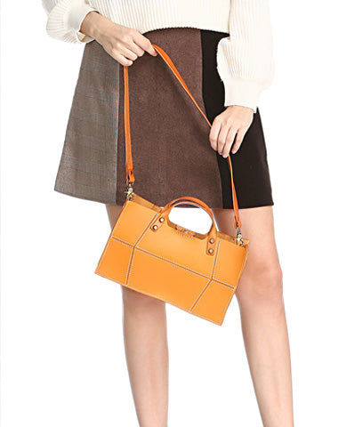 Brown Womens Handmade Leather Box Handbag Tote Brown Shoulder Bag Crossbody Purse For Women