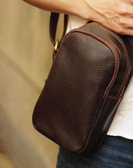 Black Coffee Leather Mens Sling Bag Sling Shoulder Bag Sling On Shoulder Backpack for men