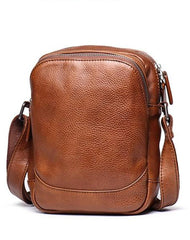 Cool Brown Leather Men's Small Vertical Side Bag Black Vertical Messenger Bag For Men