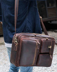 Large Brown Leather Mens Briefcase 15inch Laptop Backpack Work Bag Travel Bag For Men