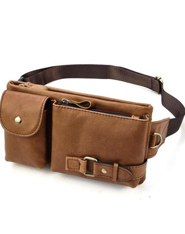 Fashion Brown Leather Men's Fanny Pack Black Hip Pack Waist Bag For Men