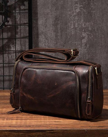 Cool Leather Small Mens Barrel Side Bag Bucket Shoulder Bag Messenger Bag for Men