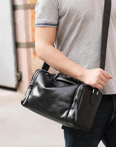 Fashion Black Leather Men's Small Barrel Side Bag Messenger Bag Small Black Overnight Bag For Men