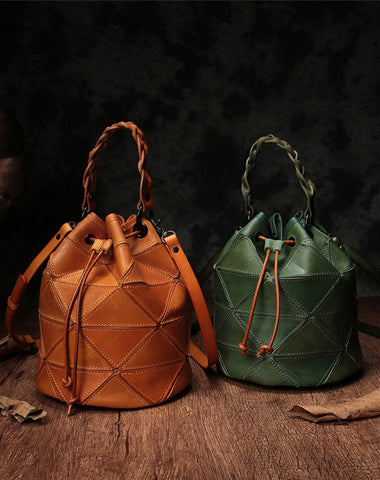 Stylish Leather Brown Bucket Handbag Shoulder Bag Green Barrel Purse For Women