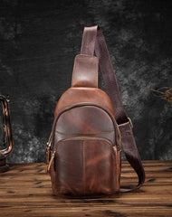Cool Vintage Leather Mens Sling Bag Chest Bag Vintage One Shoulder Backpack For Men