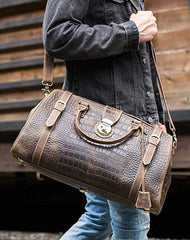 Cool Leather Mens Overnight Bag Duffle Bag Travel Bag Weekender Bags for Men