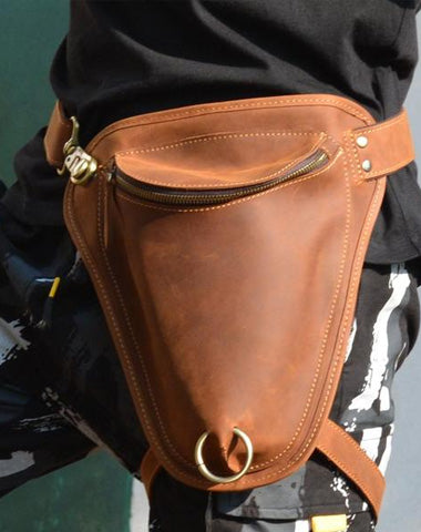 Cool Brown Leather Men's Belt Pouch Belt Bag Drop Leg Bag Waist Bag For Men