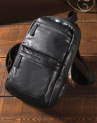 Cool Black Mens Leather One Shoulder Backpack Sling Bag Sling Crossbody Bag Chest Bag for Men