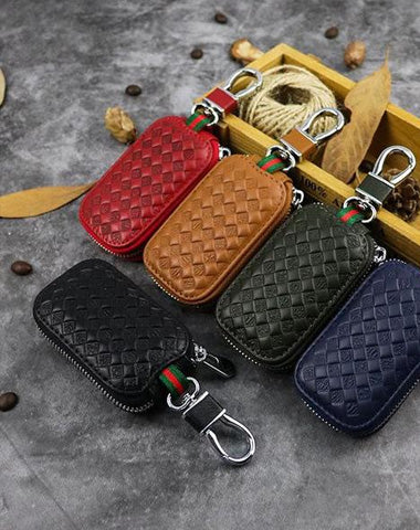 Embossed Brown Leather Men's Key Wallet Key Case Car Car Key Holder For Men