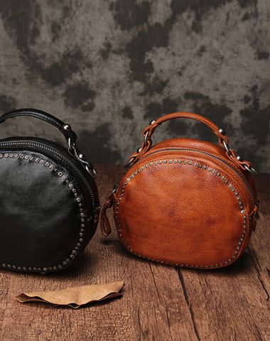 Vintage Brown Leather Womens Round Handbag Black Shoulder Circle Bag Purse For Women