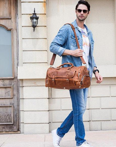 Cool Brown Leather Men's Overnight Bag Travel Bag Luggage Weekender Bag For Men