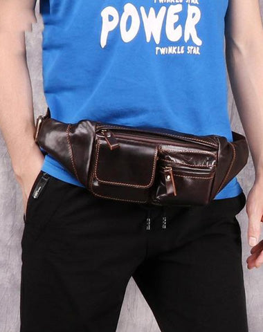 Cool Brown Leather Men's Fanny Pack Hip Pack Waist Bag Chest Bag For Men