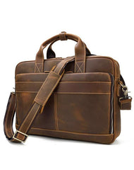 Vintage Brown Leather Men's 14'' Laptop Briefcase Professional Briefcase Computer Bag For Men