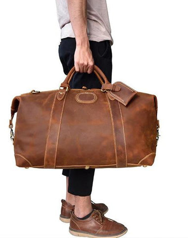 Cool Dark Brown Leather Mens Barrel Overnight BagsWeekender Bags Travel Bag For Men