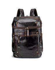 Casual Leather Mens 14inch Laptop Backpack School Backpack Barrel Travel Backpack for Men
