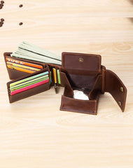 Cool Brown Leather Men's Trifold Small Wallet Multi-cards Short Wallet For Men
