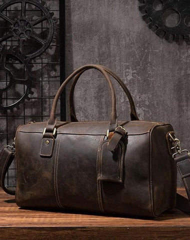 Cool Coffee Leather Mens Weekender Bags Vintage Travel Bags Duffle Bag for Men