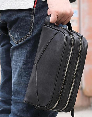 Casual Black Leather Men's Wristlet Bag Double Zipper Clutch Bag For Men