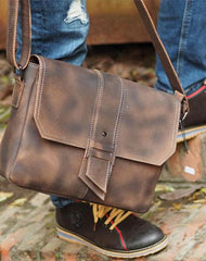 Cool Leather Mens Vintage Brown Messenger Bag Side Bag Small Shoulder Bag for Men