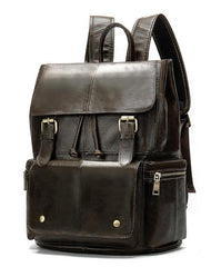 Fashion Leather Men's School Backpack 14inch Computer Backpack Satchel Backpack For Men