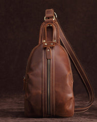 Cool Dark Brown Mens Leather One Shoulder Backpack Chest Bag Sling Bag For Mens