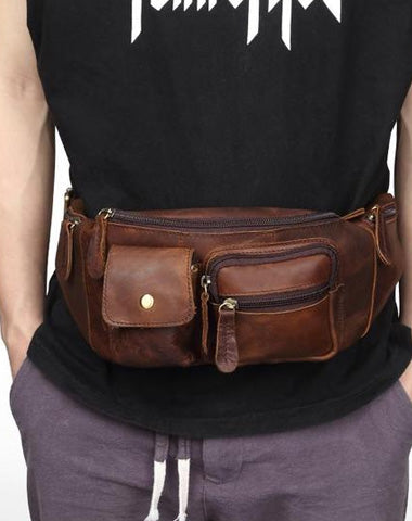 Cool Brown LEATHER MENS FANNY PACK BUMBAG Vintage WAIST BAGS FOR MEN