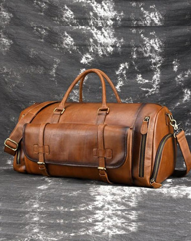 Cool Brown Leather Men's Overnight Bag Travel Bag Duffel Bag Weekender Bag For Men