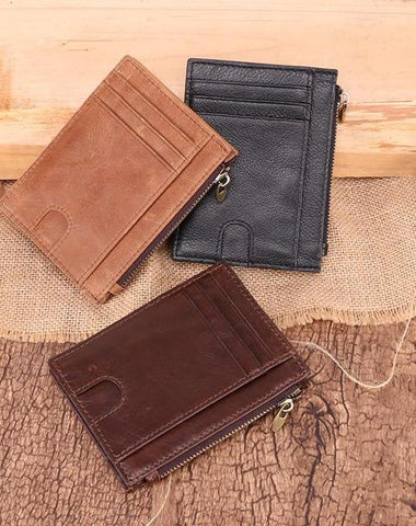 RFID Leather Mens Small Wallet Cardholder Wallet Front Pocket Wallets for Men