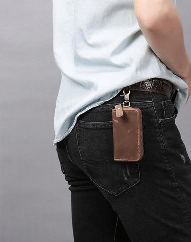 Cool Fashion Leather Men's Car Key Wallet Zipper Key Holder For Men