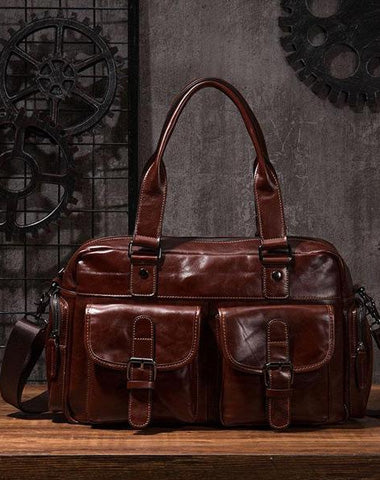 Cool Leather Mens Travel Bag Overnight Bag Work Handbags Business Bag for Men