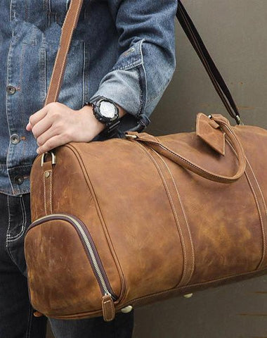 Vintage Brown Leather Men's Overnight Bag Weekender Bag Brown Travel Bag Handbag For Men