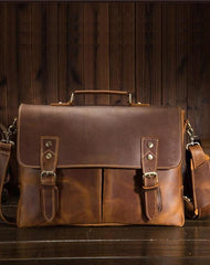 Vintage Brown Leather Mens Briefcase 13inch Laptop Bag Business Bag Handbag For Men