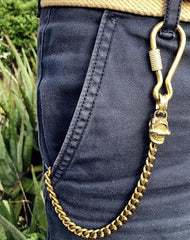 Badass Brass Copper Skull Mens Pants Chain Biker Wallet Chain 18'' Jean Chain For Men