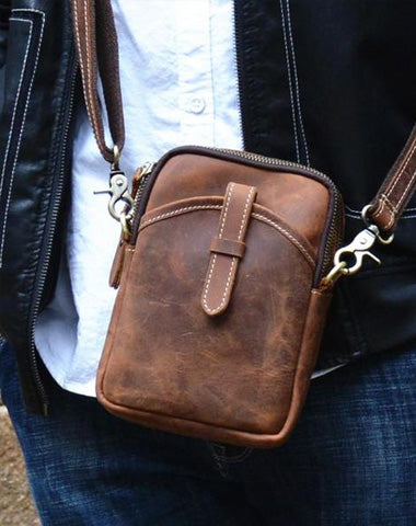 Vintage Brown Leather Men's Cell Phone Holsters Brown Waist Belt Pouch Mini Side Bag For Men