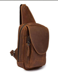 Vintage Leather Men's Chest Bag Sling Bag One Shoulder Backpack For Men